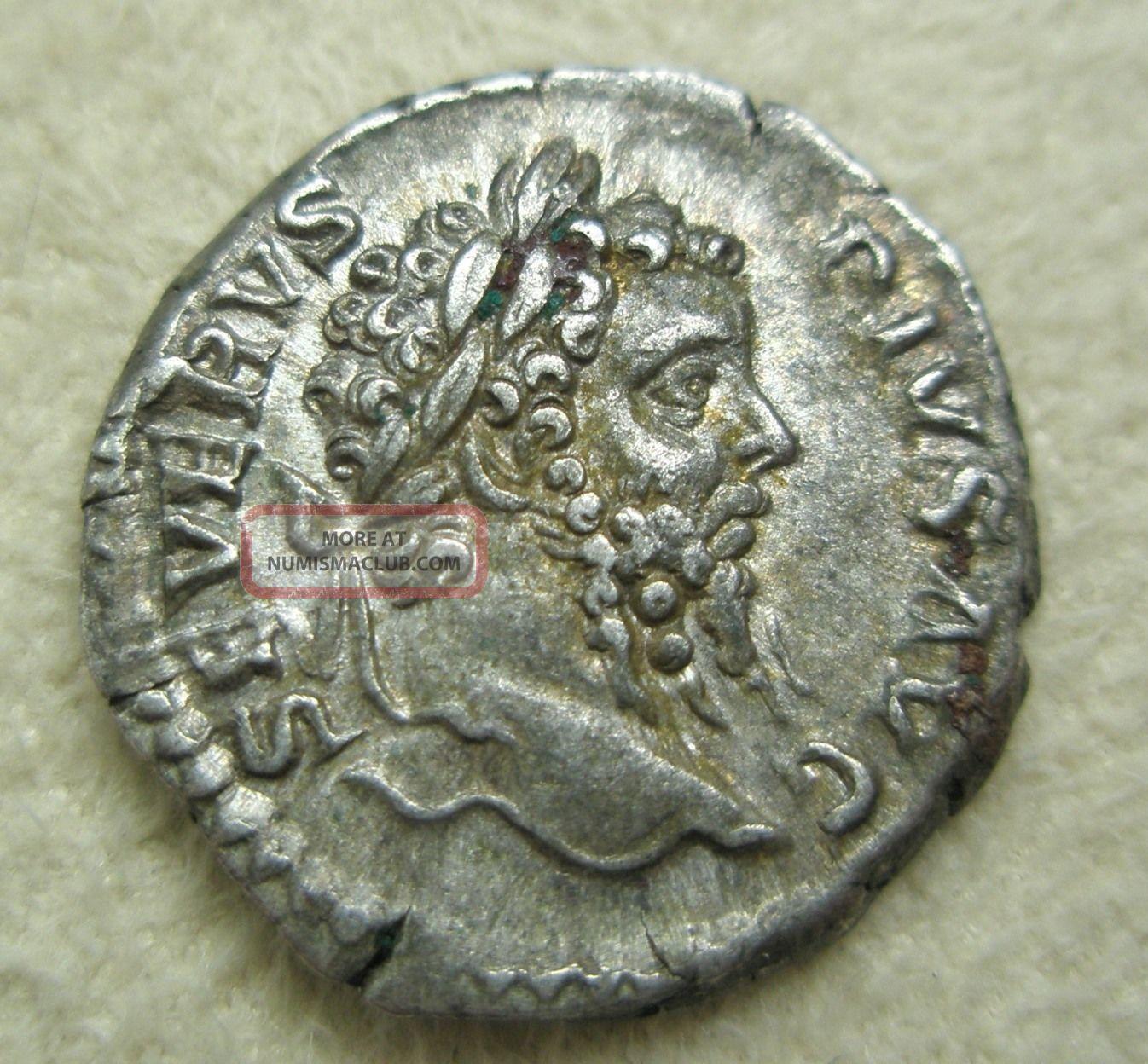 Ancient Rome Silver Denarius Septimius Severus Neptune Trident Vf S11 Coins: Ancient photo