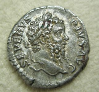 Ancient Rome Silver Denarius Septimius Severus Neptune Trident Vf S11 photo