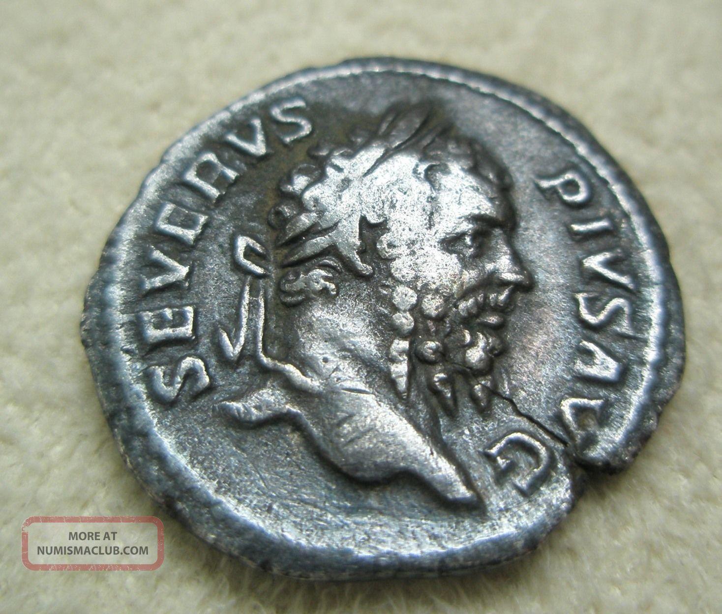 Ancient Rome Silver Denarius Septimius Severus Neptune Trident Fine S2 Coins: Ancient photo