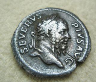 Ancient Rome Silver Denarius Septimius Severus Neptune Trident Fine S2 photo