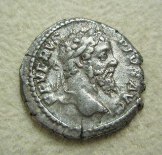 Ancient Rome Silver Denarius Septimius Severus Liberalitas Abacus F/vf S6 photo