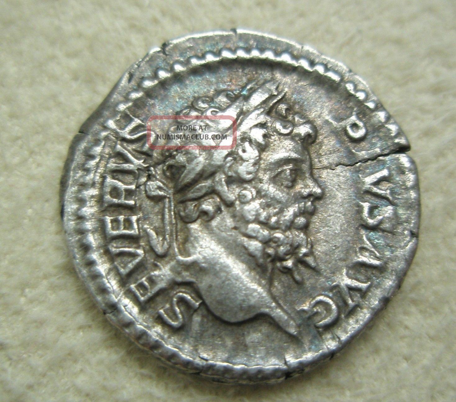 Ancient Rome Silver Denarius Septimius Severus Genius Altar Vf S7 Coins: Ancient photo