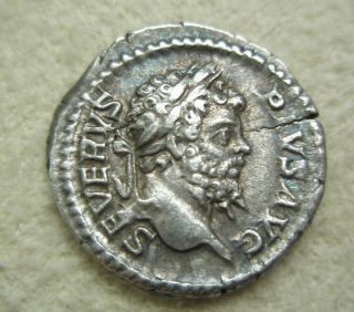 Ancient Rome Silver Denarius Septimius Severus Genius Altar Vf S7 photo