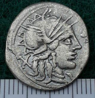 Silver Republican Denarius,  Circa 300 - 27 Bc.  Rome,  Portrait To Identify,  Vf photo