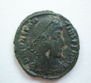 Ancient Rome Ae3 Constantius Ii.  Fallen Horseman Thessalonica Patina S30 photo