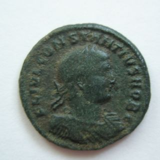 Ancient Rome Ae3 Constantius Ii.  Campgate Thessalonica Patina S31 photo