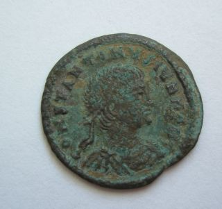 Ancient Rome Ae3 Constantine Ii.  Gloria Standard Soldier Cyzicus Patina S49 photo