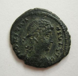 Ancient Rome Ae3 Constantine Ii.  Gloria Standard Soldier Antiochia Patina S39 photo