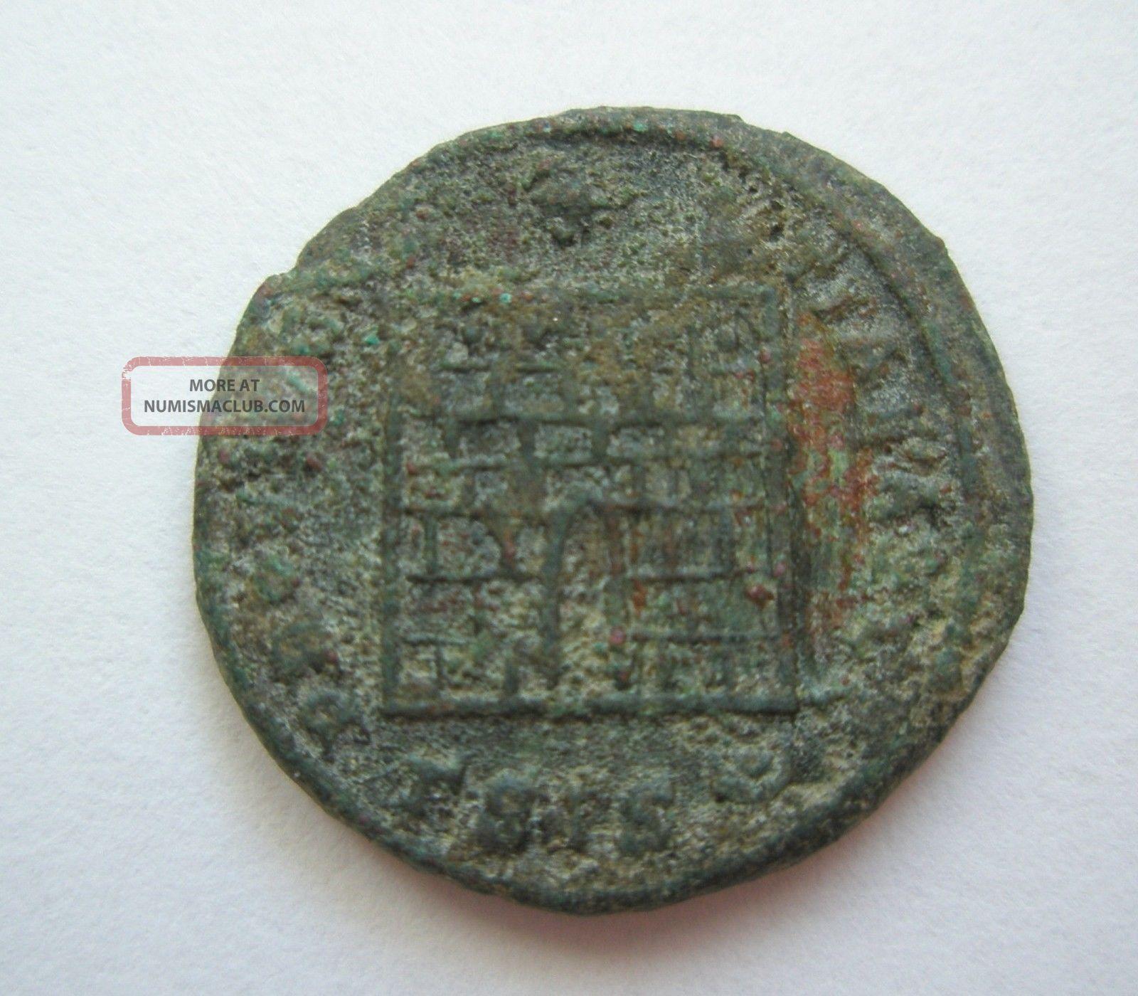 Ancient Rome Ae Nummus Follis Constantine Great Campgate Siscia Patina S58 Coins: Ancient photo