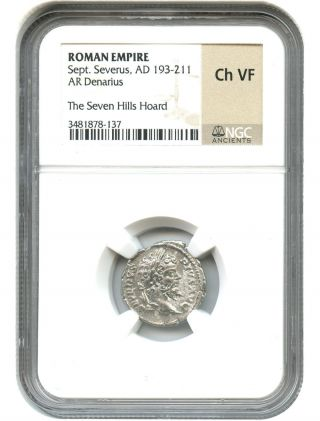 Ad 193 - 211 Sept.  Severus Ar Denarius Ngc Choice Vf (roman Empire) photo