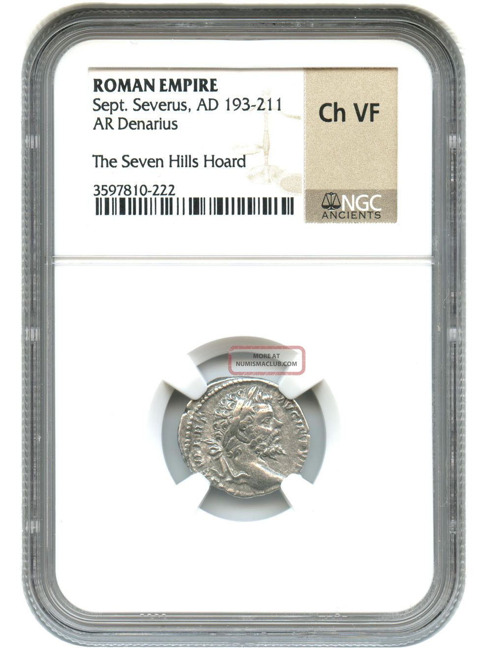 Ad 193 - 211 Sept.  Severus Ar Denarius Ngc Choice Vf (roman Empire) Coins: Ancient photo