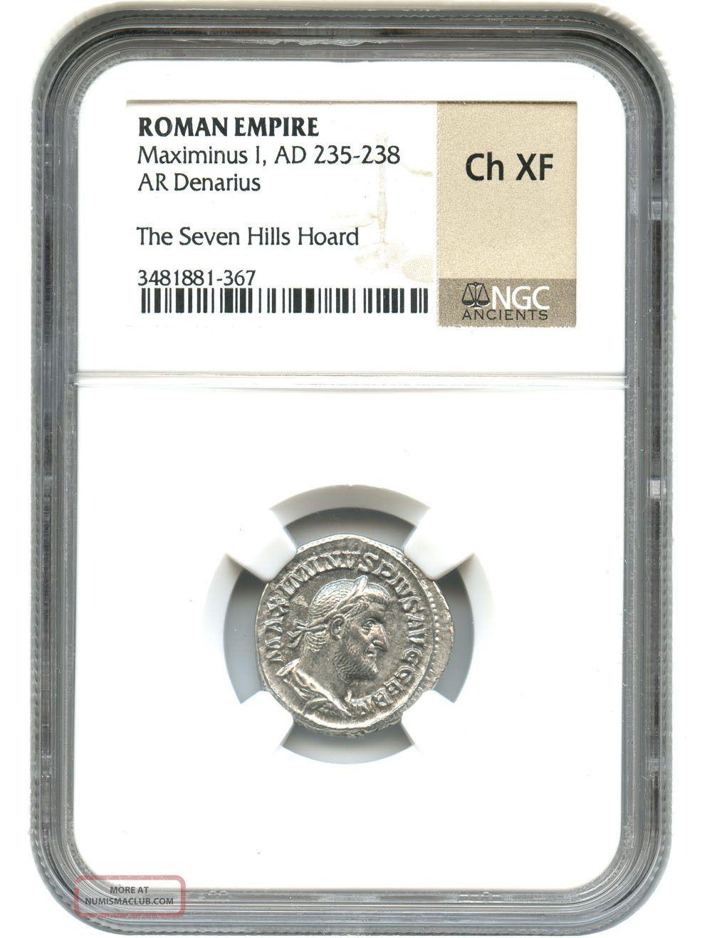 Ad 235 - 238 Maximinus I Ar Denarius Ngc Choice Xf (roman Empire) Coins: Ancient photo