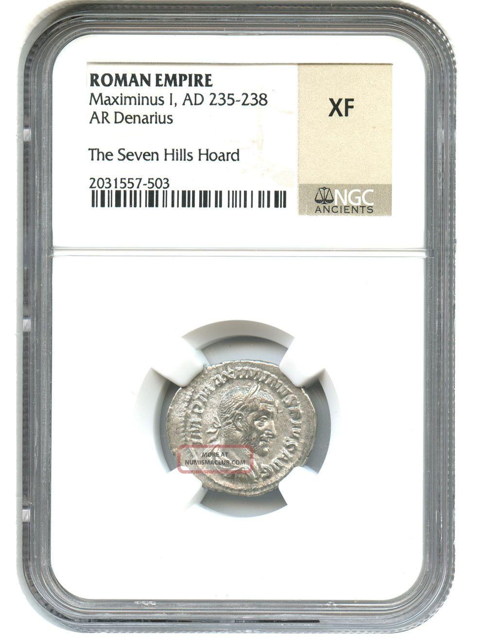 Ad 235 - 238 Maximinus I Ar Denarius Ngc Xf (roman Empire) Coins: Ancient photo