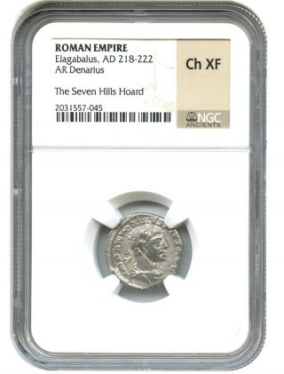Ad 218 - 222 Elagabalus Ar Denarius Ngc Choice Xf (ancient Roman) photo
