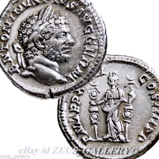 Caracalla Fides Military Standards Ancient Roman Silver Coin Denarius Rome photo