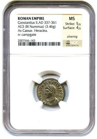 Ad 337 - 361 Ae3 Constantius Ii (bi Nummus) Ngc Ms (ancient Roman) photo