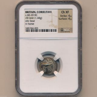 Celtic Britain Silver Corieltavi 60 - 20 Bc Ancient Coin Ngc Ch Xf 4x4 01031860b photo