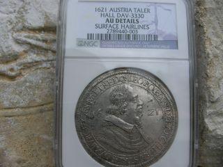 1621,  Austria Hall,  Leopold Silver Thaler,  Ngc Au Details,  Austria. photo