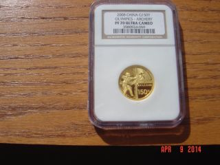 2008 China Olympics Archery 150 Yuan Gold Coin Ngc Pf70 Ultra Cameo photo
