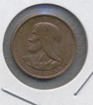 Panama 1 Centesimo,  1953.  Cincuentenario Centesimo,  Panamanian Penny,  Cent,  Km 17 photo