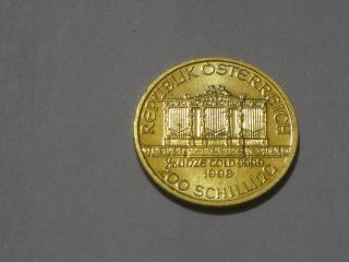 1998 Austria Vienna Philharmonic Gold 200 Shilling - 1/10 Oz Proof - Like.  F585 photo
