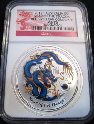 2012 - P $1 Australia Blue - Yellow Lunar Dragon Ngc Ms70 1 Oz Fine Silver photo