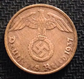 2 Reichspfennig 1937 D Rare Coin - Nazi Germany Hitler Third Reich Ww2 photo