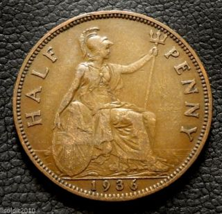 United Kingdom,  Gb.  1936 ½ Penny George V Small Head Coin photo