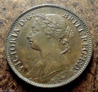 United Kingdom Gb 1886 1 Farthing Queen Victoria Bronze Coin photo