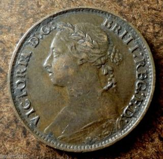 United Kingdom Gb 1884 1 Farthing Queen Victoria Bronze Coin photo