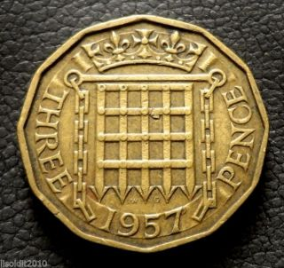 United Kingdom 1957 3 Pence Elizabeth Ii Tudor Portcullis Planchet Flaw Coin photo