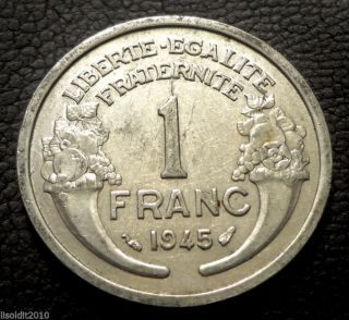 France 1945 1 Franc Laureate Head Light Type A Cornucopia Coin photo
