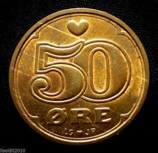 Denmark 1994 50 Ore Margrethe Ii Heart Of The Royal Coin photo