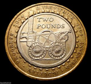 United Kingdom 2004 2 Pounds Elizabeth Ii 200th Anniversary,  Steam Locomotive photo