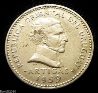 Uruguay 1959 10 Centesimos José Artigas Coin photo