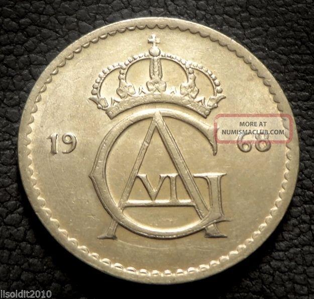 Sweden,  1968 50 Ore Gustaf Vi Adolf Monogram Coin Europe photo