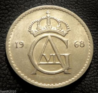 Sweden,  1968 50 Ore Gustaf Vi Adolf Monogram Coin photo