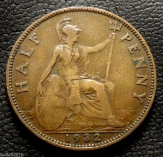 United Kingdom,  Gb.  1932 ½ Penny George V Small Head Coin photo
