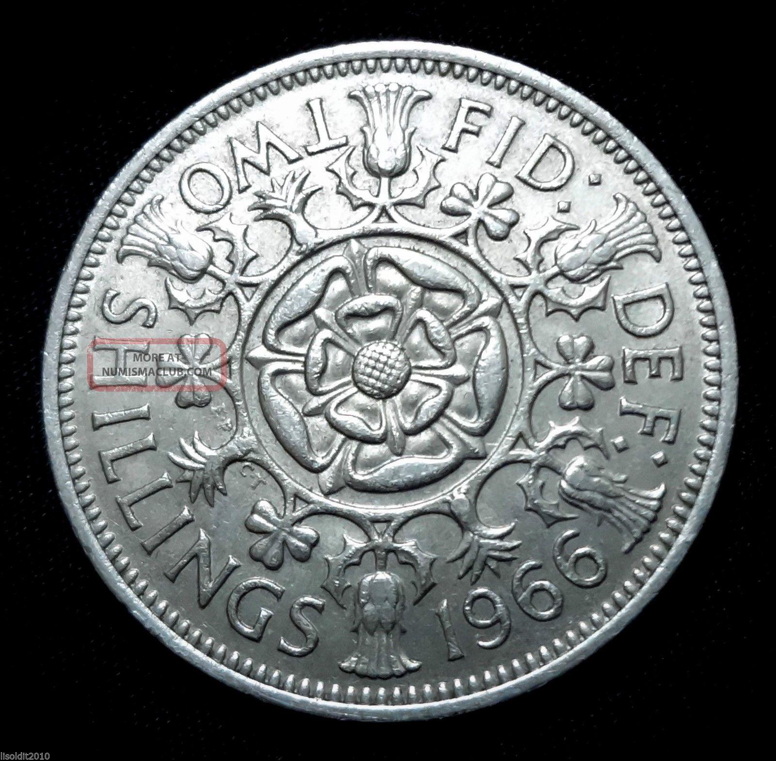 Uk,  Great Britain 1966 2 Shillings - Elizabeth Ii