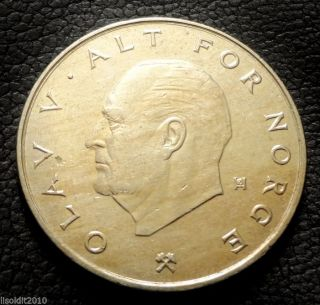 Norway,  1988 1 Krone Olav V Designer Mark,  Crossed Hammers Coin photo