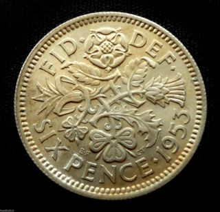 Uk,  Great Britain 1953 6 Pence - Elizabeth Ii Tudor Rose