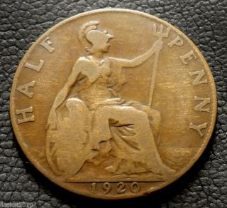 United Kingdom,  Gb.  1920 ½ Penny George V Seated Britannia Coin photo