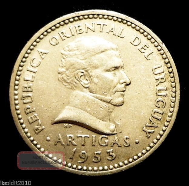 Uruguay 1953 10 Centesimos José Artigas Coin South America photo