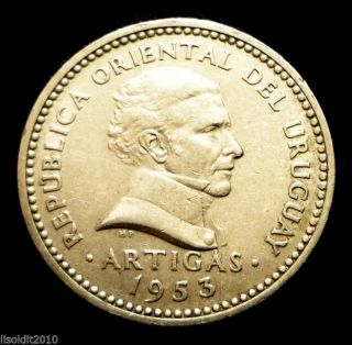 Uruguay 1953 10 Centesimos José Artigas Coin photo