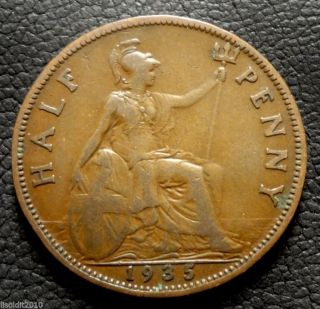 United Kingdom,  Gb.  1935 ½ Penny George V Small Head Coin photo