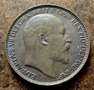 Old United Kingdom Gb 1902 1 Farthing Edward Vii Seated Britannia Coin photo