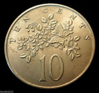 Jamaica 1969 10 Cents Elizabeth Ii Butterfly On Flowers Coin photo