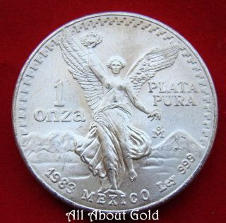Mexico Silver Coin 1 Oz 1983 Libertad.  999 Fine Winged Victoria Eagle Snake Unc photo