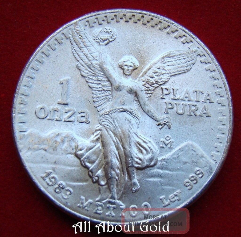 Mexico Silver Coin 1 Oz 1983 Libertad 999 Fine Winged