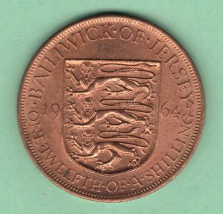 1964 Jersey. .  1/12 Shilling Coin.  Km 21.  Queen Elizabeth Ii. . photo